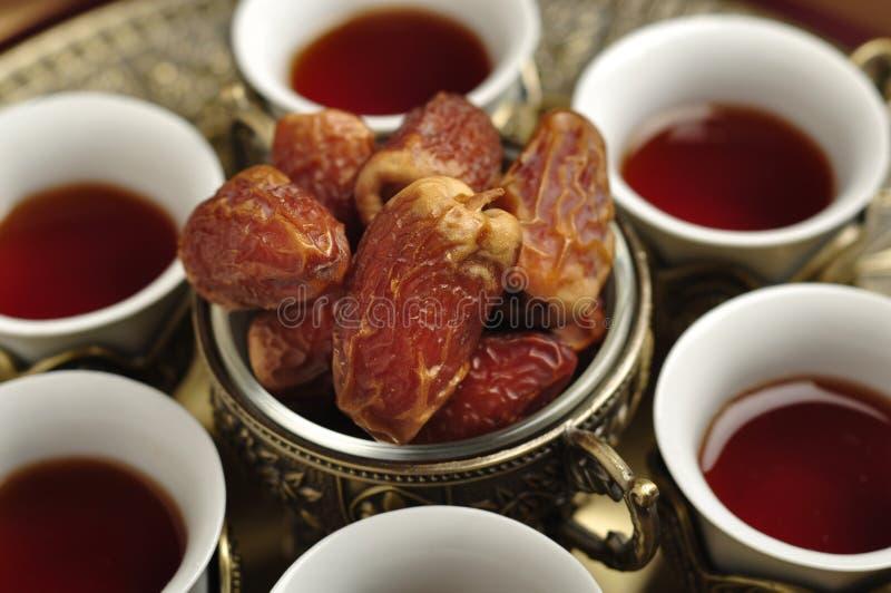Arabische thee en data royalty-vrije stock foto's