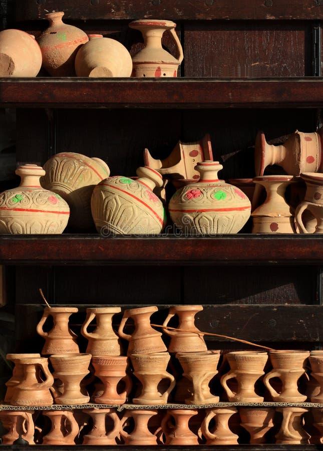 Arabische traditionele zandpotten royalty-vrije stock foto