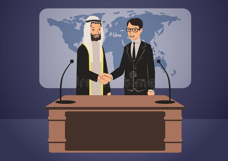 Arabische und europäische Politiker oder Geschäftsmänner, die Hände rütteln Regierungsgipfel Vektorcharakterillustration stock abbildung