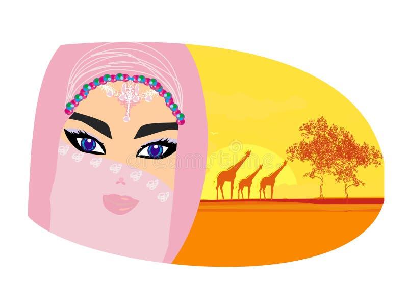 Arabische vrouw in de Sahara stock illustratie
