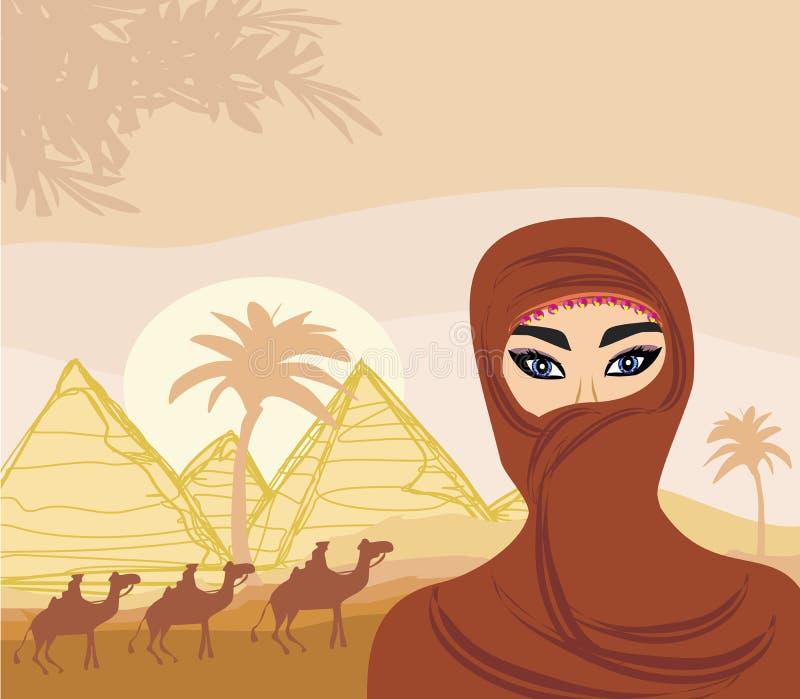 Arabische vrouw in de woestijn royalty-vrije illustratie