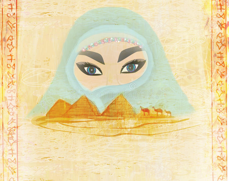 Arabische vrouw in de woestijn vector illustratie