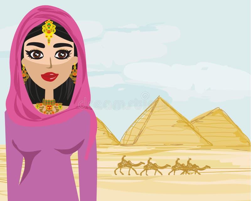 Arabische vrouw in de woestijn stock illustratie