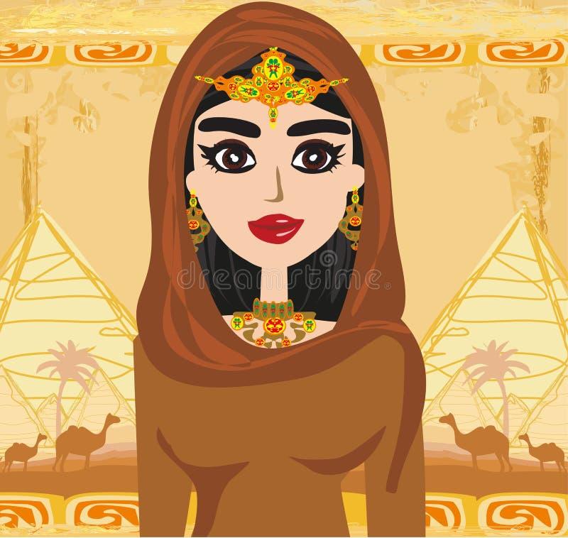 Arabische vrouw in de woestijn - kaart royalty-vrije illustratie