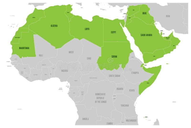 Arabische Welt gibt politische Karte mit higlighted 22 Arabisch sprechenden Ländern der arabischen Liga an Nord-Afrika und stock abbildung