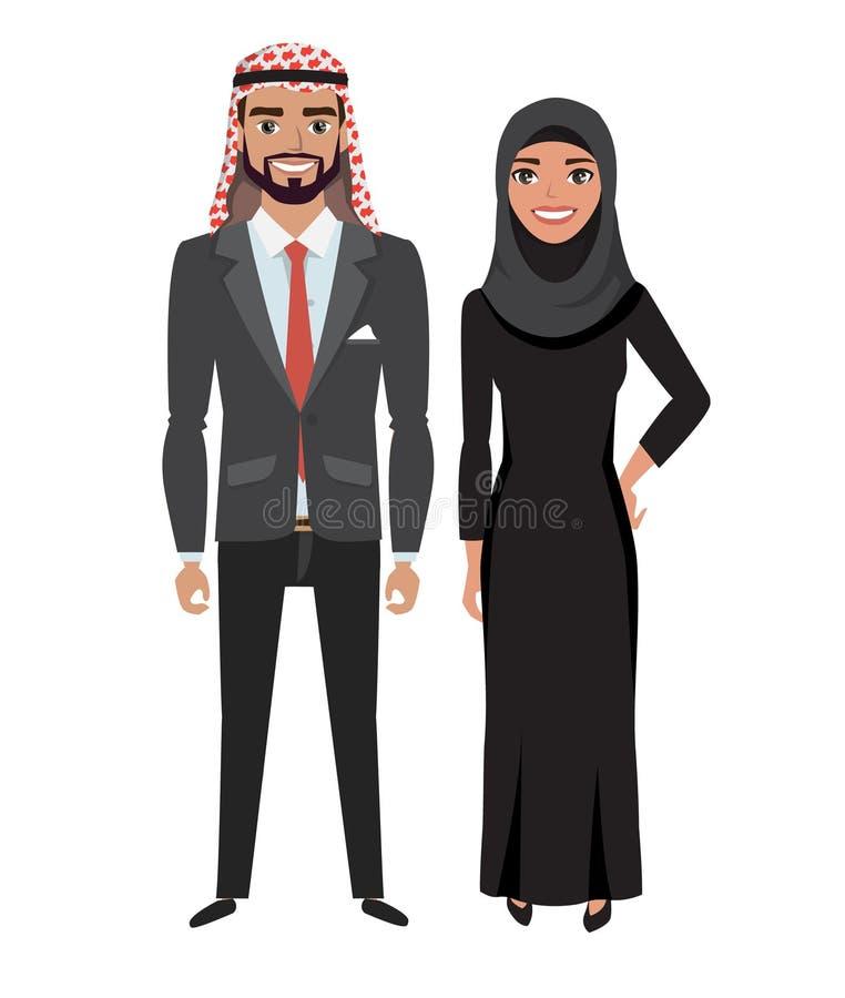 Arabische zakenman en vrouw in kostuum stock illustratie