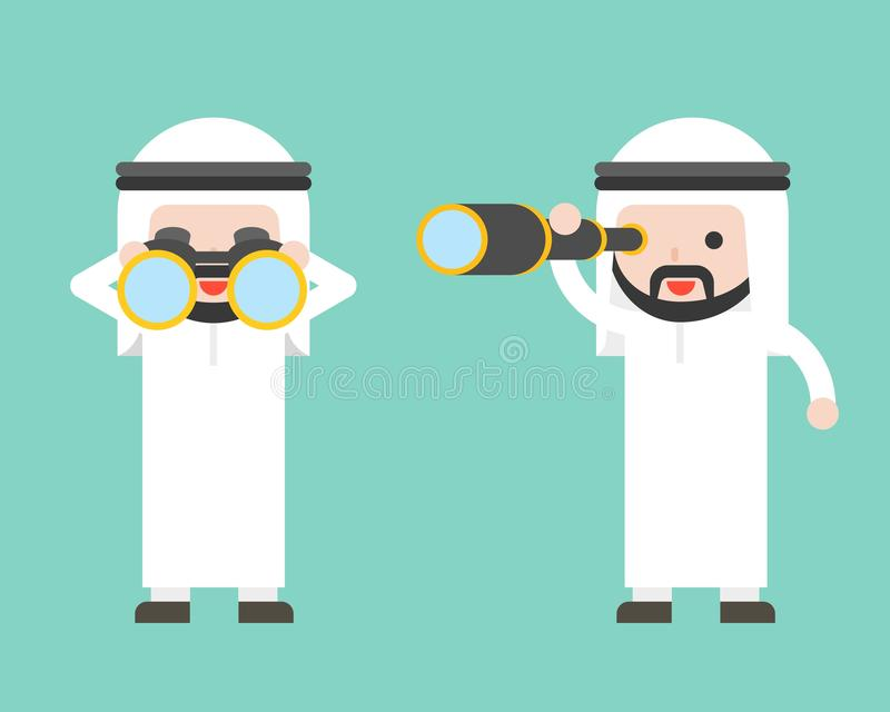 Arabische Zakenman of manager met verrekijkers en éénogig werkingsgebied, vector illustratie