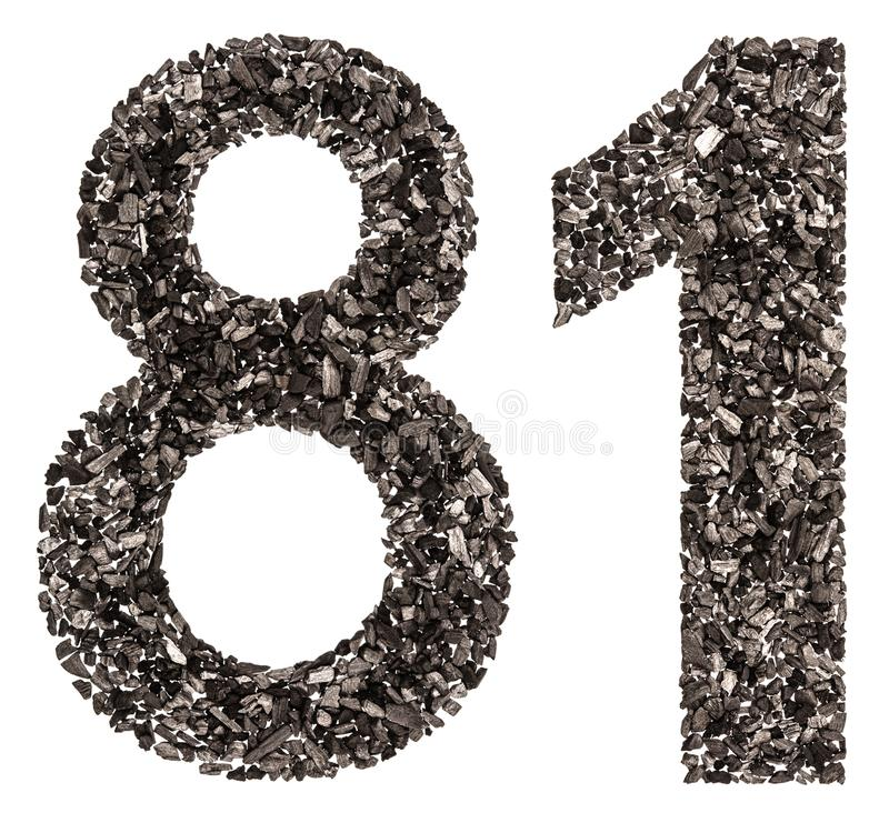 Arabische Ziffer 81, achtzig eins, vom Schwarzen eine natürliche Holzkohle, ist stockbild