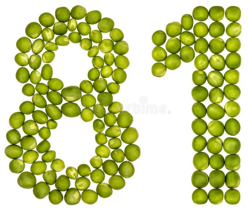 Arabische Ziffer 81, achtzig eins, von den grünen Erbsen, lokalisiert auf Whit lizenzfreies stockbild