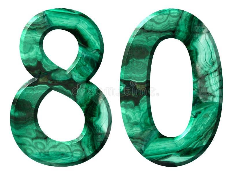 Arabische Ziffer 80, achtzig, vom natürlichen grünen Malachit, lokalisiert auf weißem Hintergrund stockfoto