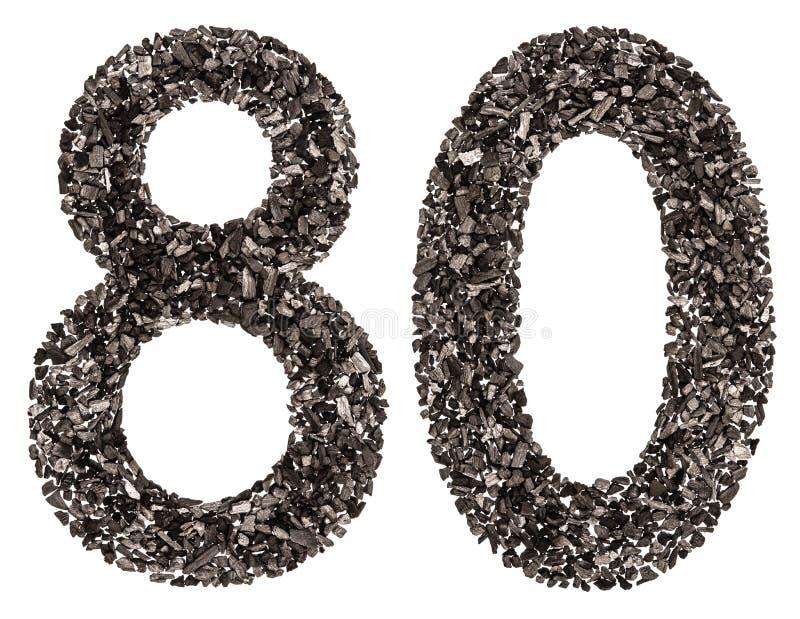 Arabische Ziffer 80, achtzig, vom Schwarzen eine natürliche Holzkohle, isolat lizenzfreie stockbilder