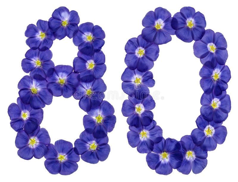 Arabische Ziffer 80, achtzig, von den blauen Blumen des Flachses, lokalisierte O lizenzfreie stockfotos