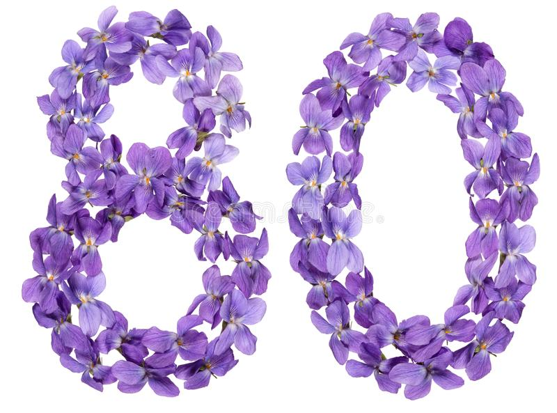 Arabische Ziffer 80, achtzig, von den Blumen der Viola, lokalisiert auf wh lizenzfreies stockfoto