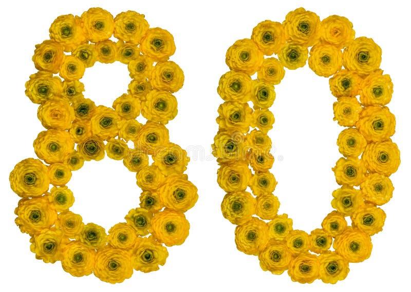 Arabische Ziffer 80, achtzig, von den gelben Blumen der Butterblume, ISO lizenzfreies stockfoto