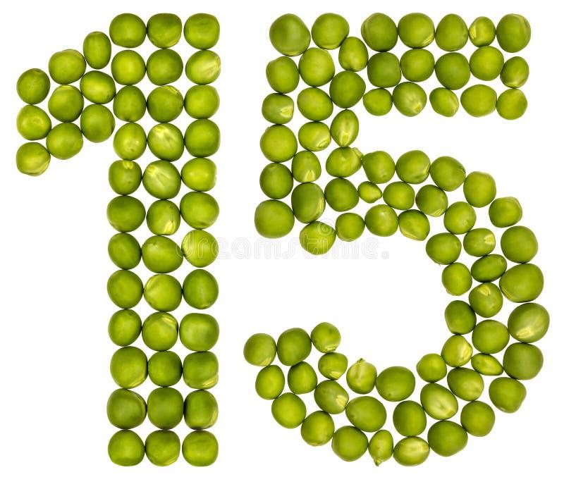 Arabische Ziffer 15, fünfzehn, von den grünen Erbsen, lokalisiert auf weißem b lizenzfreie stockbilder