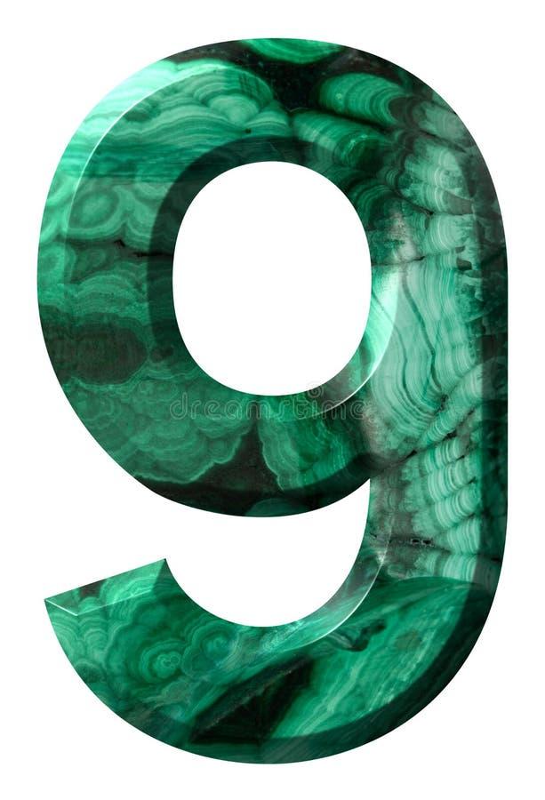 Arabische Ziffer 9, neun, vom natürlichen grünen Malachit, lokalisiert auf weißem Hintergrund lizenzfreie abbildung