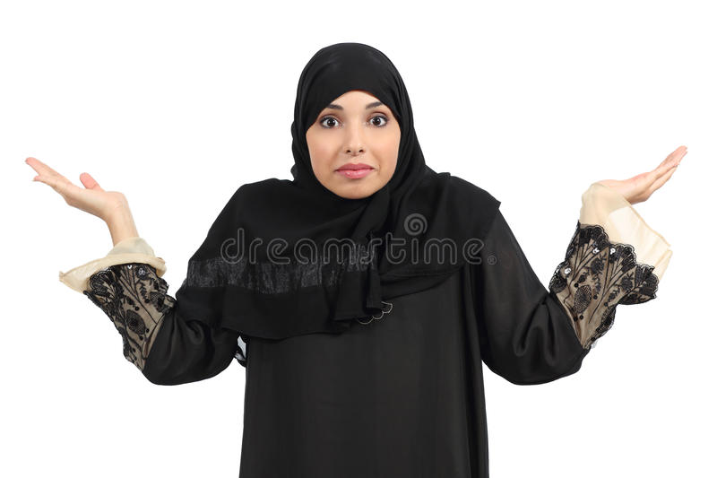Arabische zweifelnde und gestikulierende Frau lizenzfreies stockfoto