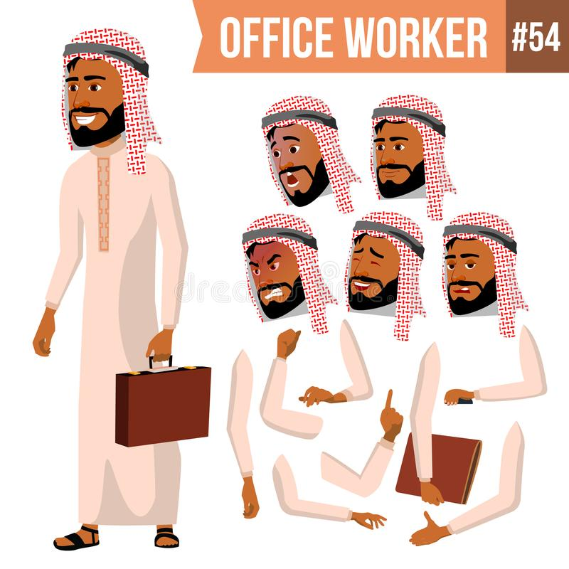 Arabischer Büroangestellt-Vektor Saudi, Emirate, Katar, Uae Gesichts-Gefühle, verschiedene Gesten Animations-Schaffungs-Satz lizenzfreie abbildung