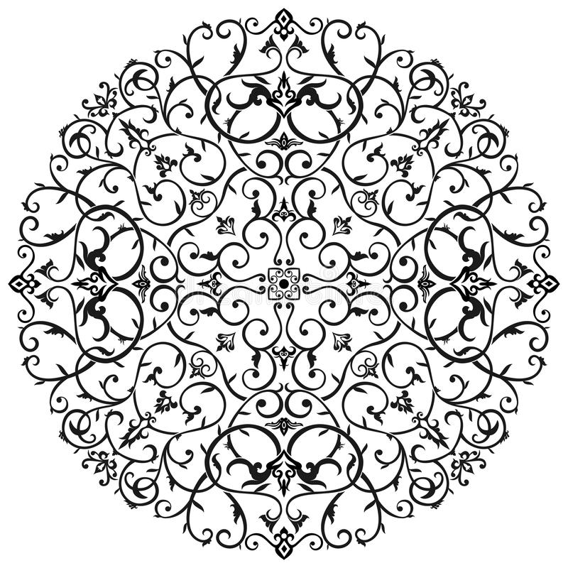Arabischer Batik-Strudel mit Blumen stockbilder