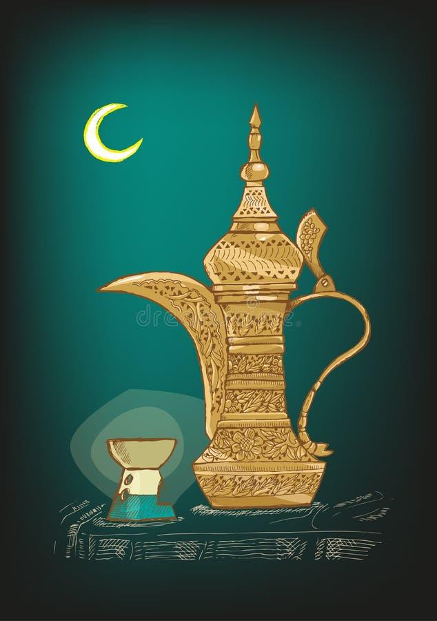 Arabischer Dallah-Topf mit Ramadan Moon- und Lampen-Skizzen-Vektor stock abbildung