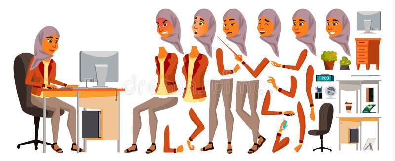 Arabischer Frauen-Büroangestellt-Vektor Frau belebt Berufssekretär Erwachsene Geschäfts-Frau Lebensstil-Generator dame lizenzfreie abbildung