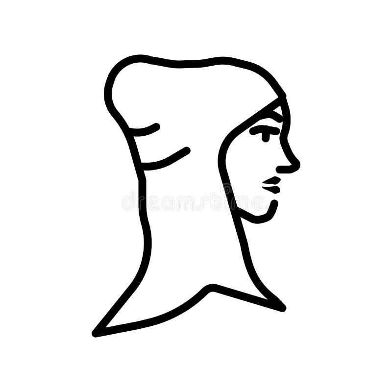 Arabischer Frauenikonenvektor lokalisiert auf weißem Hintergrund, arabisches Frauenzeichen stock abbildung