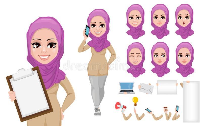 Arabischer Geschäftsfrau-Zeichentrickfilm-Figur-Schaffungssatz vektor abbildung