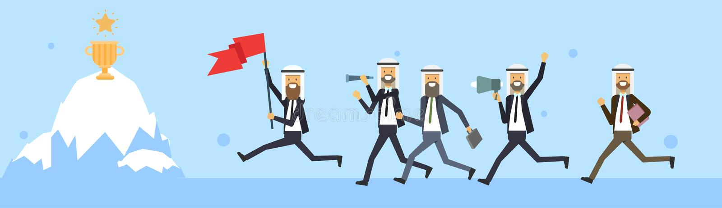 Arabischer Geschäftsmann, der mit Flagge über Eisberg mit Siegercup-Preishintergrund springt Getrennt auf Weiß herausforderung lizenzfreie abbildung