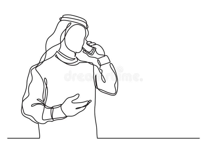 Arabischer Geschäftsmann im keffiyeh sprechend am Handy - Federzeichnung der einzelnen Zeile stock abbildung