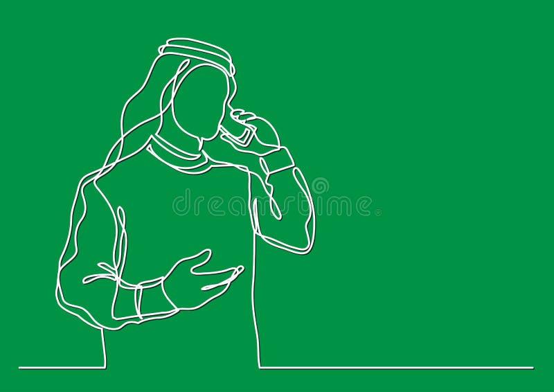 Arabischer Geschäftsmann im keffiyeh sprechend am Handy - Federzeichnung der einzelnen Zeile lizenzfreie abbildung