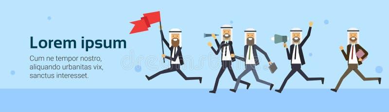 Arabischer Geschäftsmann laufen mit Teamgruppe der roten Fahne über blauem Hintergrund Getrennt auf Weiß Herausforderung, Risiko, stock abbildung