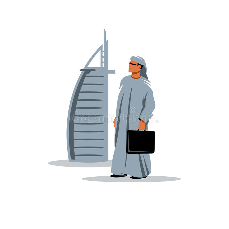 Arabischer Geschäftsmann mit einem Aktenkoffer in der Hand Auch im corel abgehobenen Betrag lizenzfreie abbildung