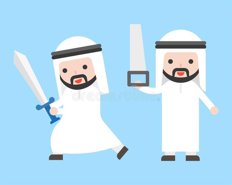 Arabischer Geschäftsmann oder Manager, welche die Klinge und Säge, gebrauchsfertig hält stock abbildung