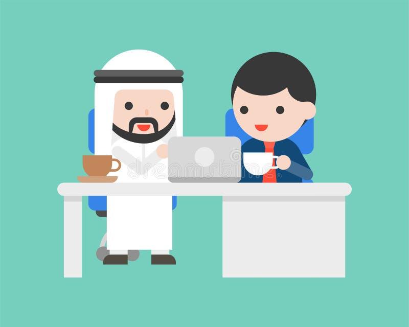 Arabischer Geschäftsmann sitzen im Schreibtisch und besprechen Geschäft, meetin stock abbildung