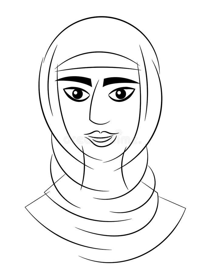 Arabischer Kopf des Frauenporträts lokalisiert vektor abbildung