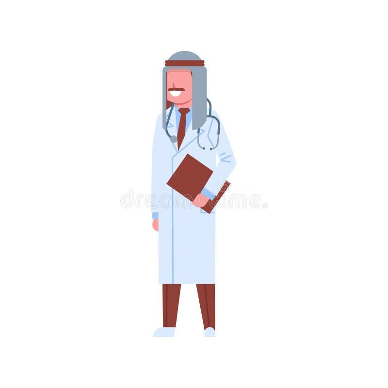 Arabischer männlicher Doktor, der arabischen Mann der Checkliste keffiyeh und Uniformin der krankenhausmedizin-Arbeitskraftzeiche stock abbildung
