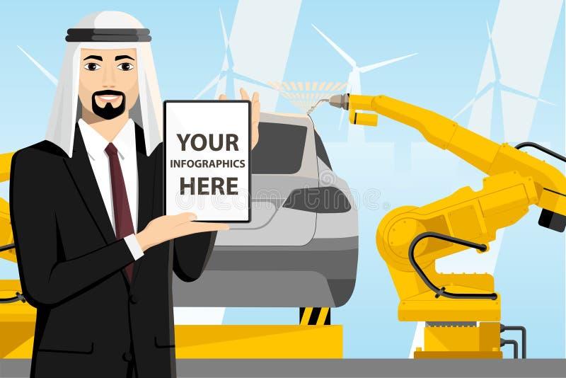 Arabischer Manager mit einer digitalen Tablette stock abbildung