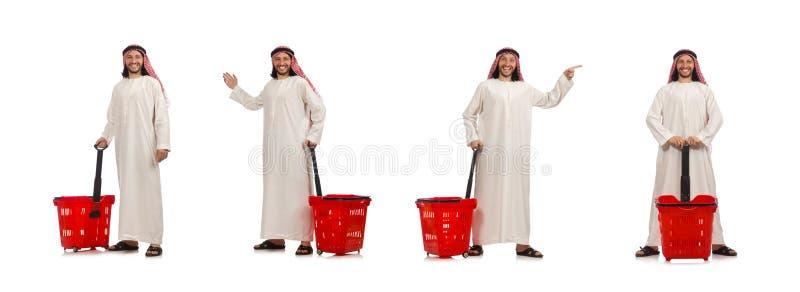 Arabischer Mann, der das Einkaufen lokalisiert auf Wei? tut stockfotos