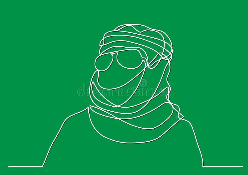 Arabischer Mann Mittleren Ostens im keffiyeh - Federzeichnung der einzelnen Zeile lizenzfreie abbildung