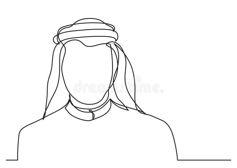 Arabischer Mann Mittleren Ostens im keffiyeh - Federzeichnung der einzelnen Zeile vektor abbildung