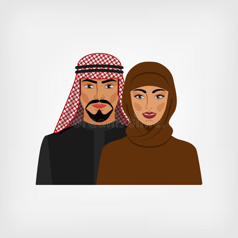 Arabischer Mann und Frau in der traditionellen Kleidung vektor abbildung