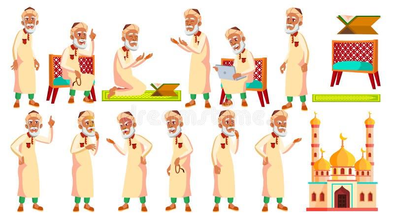 Arabischer, moslemischer alter Mann wirft gesetzten Vektor auf Ältere Menschen Ältere Person gealtert Aktiver Großvater freude Da vektor abbildung