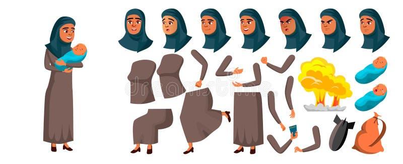 Arabischer, moslemischer jugendlich Mädchen-Vektor Animations-Schaffungs-Satz Gesichts-Gefühle, Gesten Mutter mit Kind belebt Exp vektor abbildung
