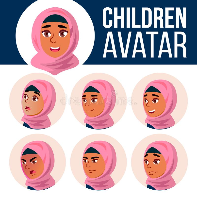 Arabischer, moslemischer Mädchen-Avatara-Satz-Kindervektor Der Lehrer erlernt den Jungen, um zu lesen Stellen Sie Gefühle gegenüb stock abbildung