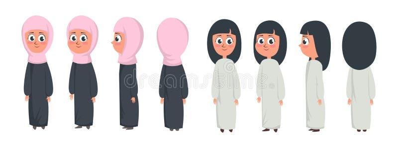 Arabischer moslemischer netter Mädchencharakter lokalisiert auf dem weißen Hintergrund, der traditionelle Kleidungsfront, Rücksei lizenzfreie abbildung