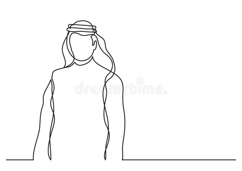 Arabischer Scheich im keffiyeh - Federzeichnung der einzelnen Zeile stock abbildung