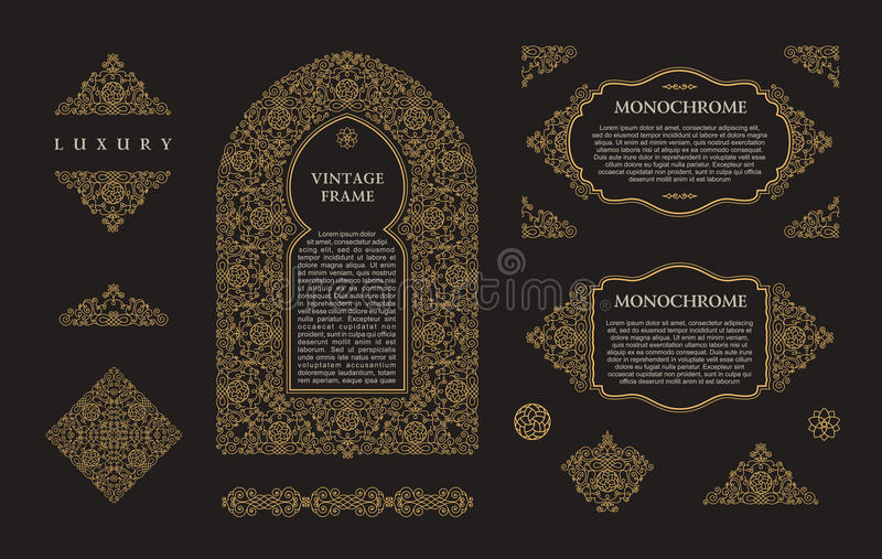 Arabischer Vektorsatz Rahmenlinien Kunstdesignschablonen Moslemische Goldentwurfselemente und -embleme stock abbildung