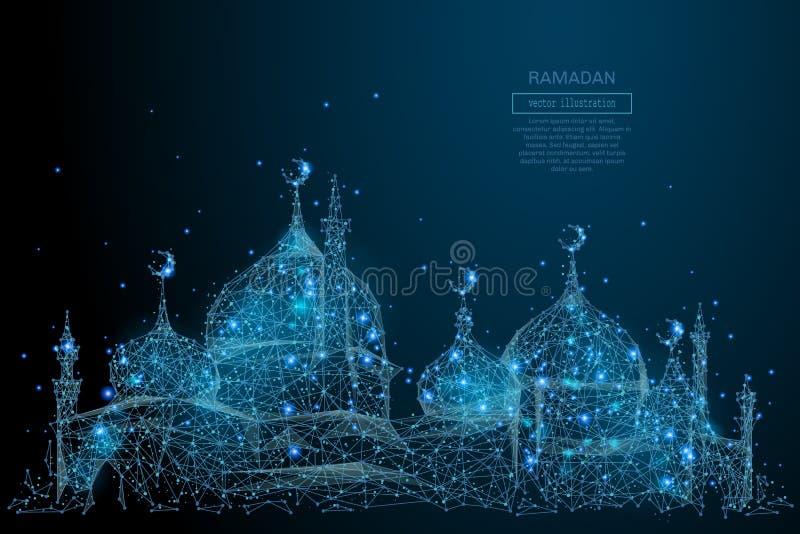 Arabisches der Moschee Polyblau niedrig vektor abbildung