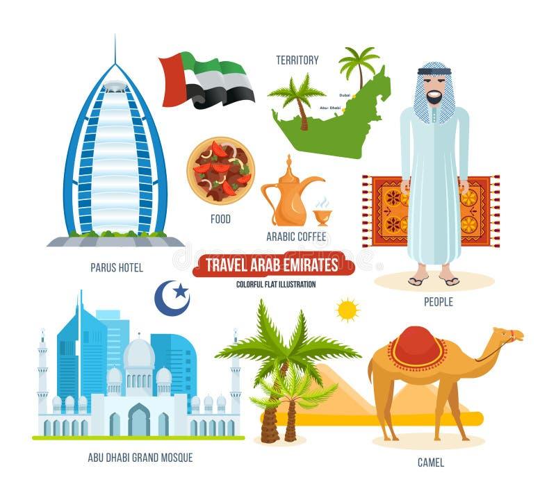 Arabisches Emiratkonzept der Reise Anblick, Lebensmittel, Getränke, Andenken und Kleidung vektor abbildung