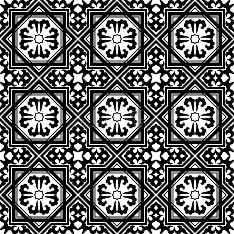 Arabisches geometrisches nahtloses Schwarzweiss-Muster, Vektor lizenzfreie abbildung
